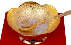 VESPL Silver Gold Plated Bowl Set