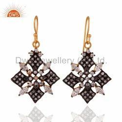 925 Silver Cz Dangle Earrings