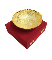 Elephant Pattern Gold and Silver Plated Brass Bowl