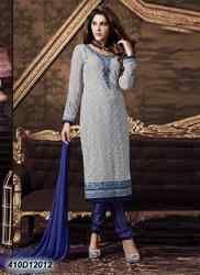 Designer Blue and Grey Churidar Suit
