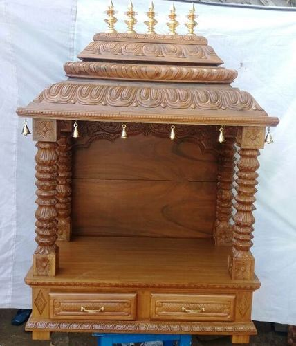 Wooden pooja mandapam divine teak wood hand carved - Wall mounted wooden temple design for home ...