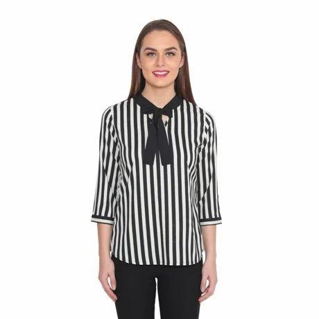 Striped Crepe Top