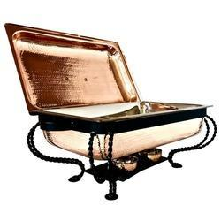 Copper Hammered Rect 1/1 Chafer with Classic Black Stand