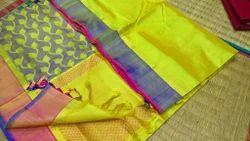 Sill Cotton Silk Border Blouse Thread Work Sarees