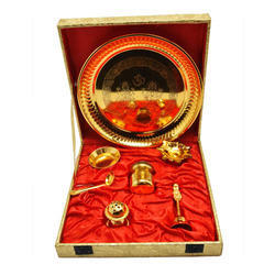Antique Design Gold Plated Pooja Thali