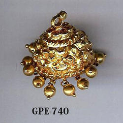 Gold Carving Jhumka Earring
