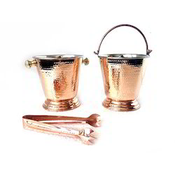 Copper Steel Hammered Ice Bucket