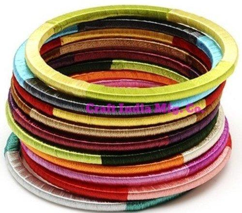 Thread-Wood Bangles Set