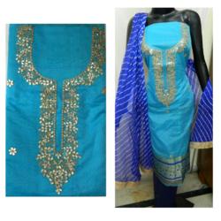 Aaditri Sky Blue Banarasi Gota Patti Suit