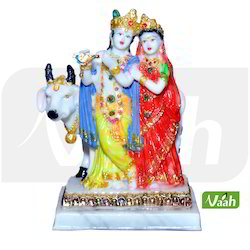 Cow Showpiece Resin Radha Krishna Statue