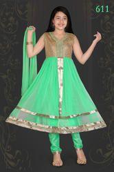 Green Anarkali Salwar Suits for Girls
