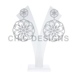 Diamond Gold Floral Earrings