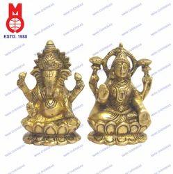 Lord Ganesh & Laxmi Sitting On Lotus Base Coiled Trunk