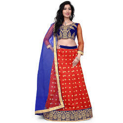 Red Net Heavy Embroidered Lehenga