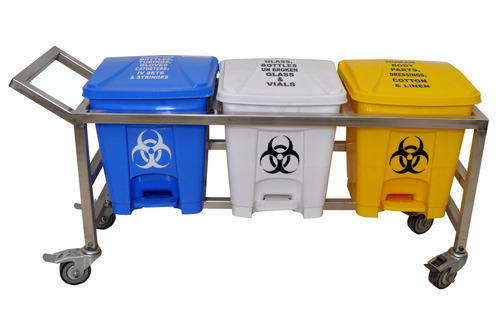 Bio Medical Waste Segregation Trolley with Pedal