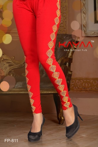Red Fancy Cotton Lycra Side Printed Leggings