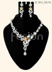 Designer American Diamond Studded Necklace Set