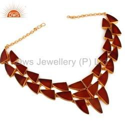 925 Silver Red Onyx Necklace