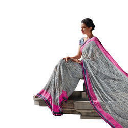 Grey Coloured Georgette Saree