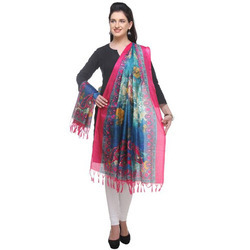 pink and multicolor dupatta