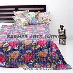 Cotton Kantha Work Flower Print Gudri