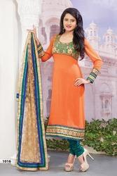 Orange Faux Georgette Churidar Kameez