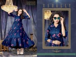 Cotton Slub Designer Floor Length Kurti