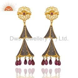 Ruby and Pave Diamond Traditional Earrings