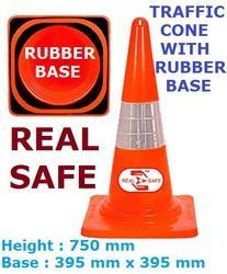 Traffic Cone with Rubber Base