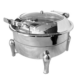 Grand Round Hydraulic Glass Lid Chafing Dish New