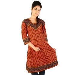 Jaipuri Designer Printed Red Black Cotton Kurti 184