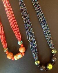 Fine Bead Necklace with Blue Pottery Beads