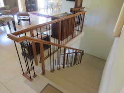Wood with Iron Steel Stair Case