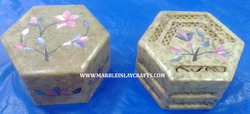 Soapstone Inlay Octagonal Box