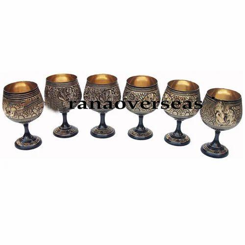 Brass Wine Goblet Set