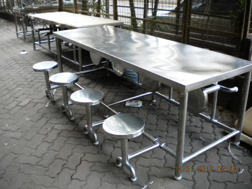 SS 8 Seater Dining Table with Stools