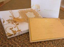 designer burlap wedding card