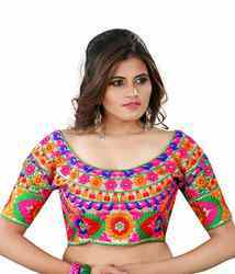 Multicolor Kutchhi Embroidered Silk Blouse