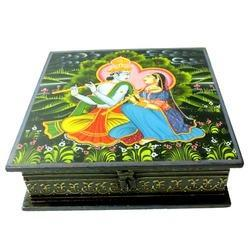 Wooden Painted Radha Krishna Box