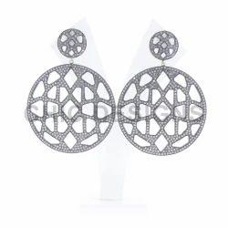 Diamond Pave Round Earrings