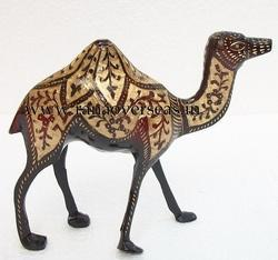 Brass Metal Decorative Nakkashi Work Camels