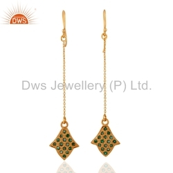 Gold Plated Gemstone Chain Earring