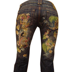 ladies embroidered jeans