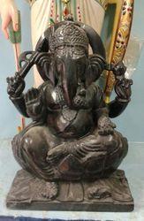 Ganpati Black Marble Statue