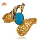 Turquoise Designer Brass Bangle