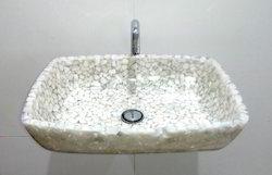 Rectangle Deep White Stone Basin