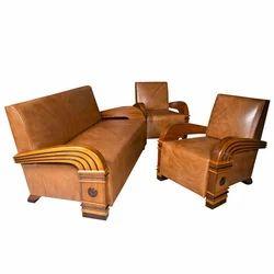 art deco suite wood sofa