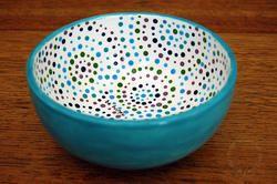 Wood Yarn Bowl - Painted Polka dot