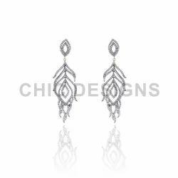 Diamond Peacock Wings Earrings