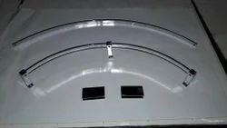 Glass Shelf Railing in Brass
